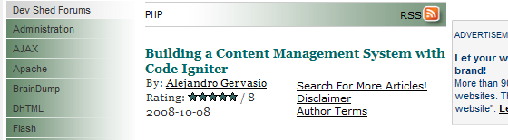 devshed-Content-Management-System-with-Code-Igniter