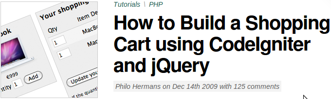 """5 """"How To Create CodeIgniter Powered Shopping Cart"""