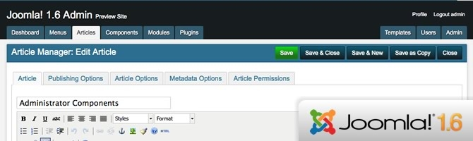 AdminPraise Lite Updated for Joomla 1.6 Stable