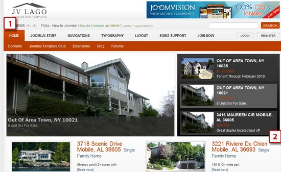 JV Lago module positions - The first joomla real estate template from JoomlaVision