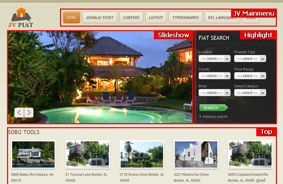 JV Piat Module positions - Real estate templates for Joomla! website