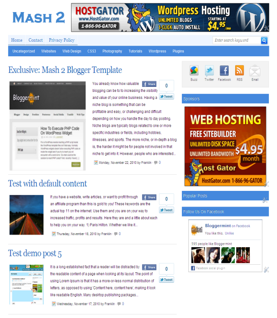 Mash 2 (Mashable Inspired) Blogger Template By Bloggermint