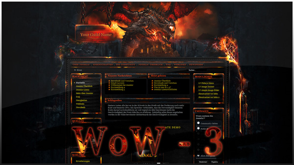 World of Warcraft 3 - Joomla Template