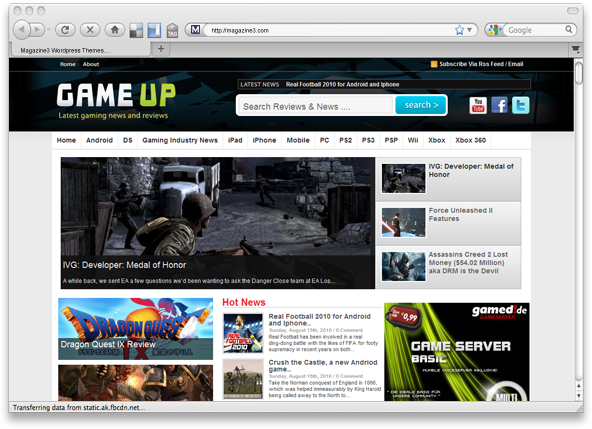 gameup-screenshot wordpress theme by magazine3