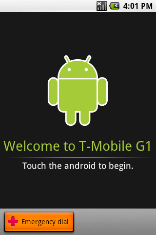 t-mobile G1 Welcome screen android guide